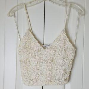 NWT Zara Trafalic Lace Crochet Crop Tank S